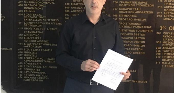 Ο Γιάννης Μώραλης κατέθεσε τον συνδυασμό «Πειραιάς Νικητής» στο Πρωτοδικείο