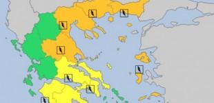 «Καμπανάκι» του Meteo Alarm για τον καιρό: Βροχές, καταιγίδες και χαλάζι σε πολλές περιοχές της χώρας (χάρτες)