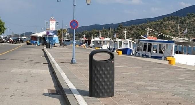 Νέα καλάθια απορριμάτων στο λιμάνι του Πόρου