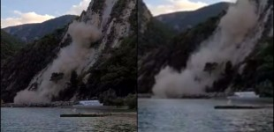 Βράχος ξεκόλλησε και έπεσε στη θάλασσα μετά τον σεισμό στην Σάμο
