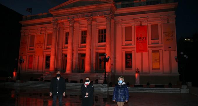 «Orange the World»: Φωταγώγηση Δημοτικού θεάτρου Πειραιά στο πλαίσιο της Παγκόσμιας Ημέρας για την εξάλειψη της βίας κατά των γυναικών
