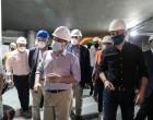 Ο Δήμαρχος Πειραιά Γιάννης Μώραλης και ο Υπουργός Υποδομών  και  Μεταφορών  Κώστας Καραμανλής  στο εργοτάξιο του σταθμού μετρό «Δημοτικό Θέατρο»